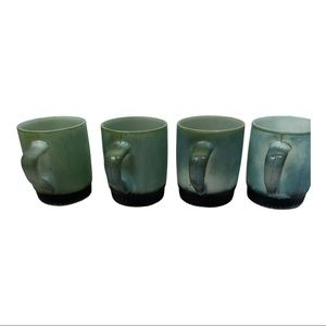Fire King anchor hocking green black mugs